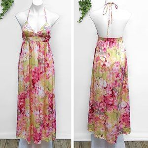 H&M Watercolor Flower Halter Flowy Maxi Sun Dress